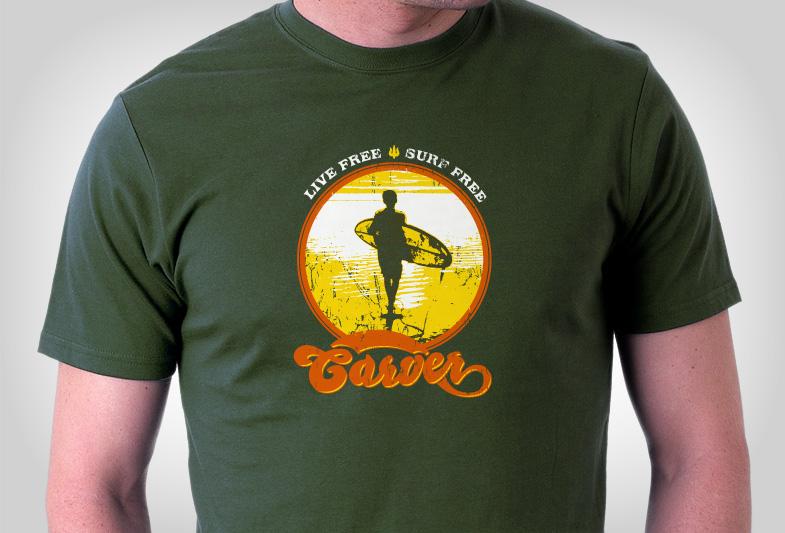 """Carver Skateboards """"Live Free Surf Free"""" T-Shirt"""