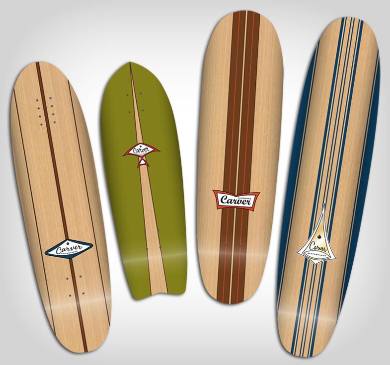 Carver Skateboards Vintage Longboard Graphics